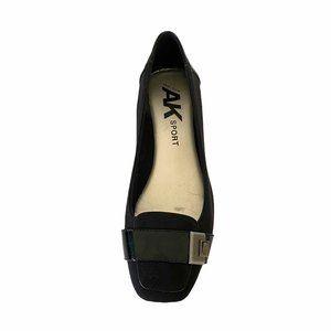 AK Sport Anne Klein Black Square Toe Flat Shoes